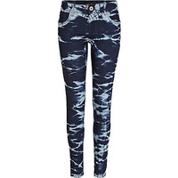 Dark wash tie dye Amelie superskinny jeans