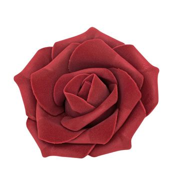 "Bag of 12 Foam Rose Heads in Burgundy - 3"" Wide"