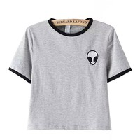 Women Alien Cropped Top Teens Girls Embroidery T Shirts Shirt Short Sleeve L