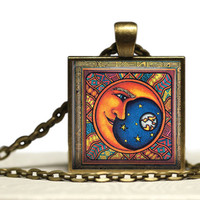 Celestial Crescent Moon Bronze Glass Tile Pendant Necklace Multicolor Handmade Jewelry