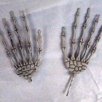 Skeleton Hand Hair Clips, Large, Bobby Pin, Halloween, Hair Accessory, Costume, Goth, Creepy Cute,