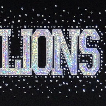 Lions hot fix team name logo iron on rhinestone transfers 2 layer hot fix school mascot appliqué