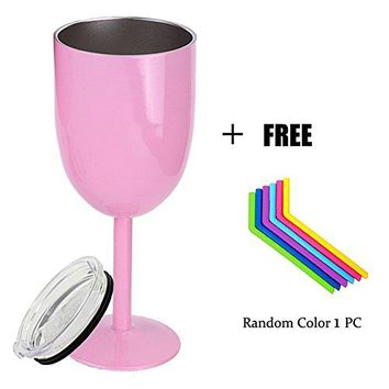 Asylove Stainless Steel Wine Glasses with Lid amp Free Straw DoubleWalled Vacuum Insulated Sealed Goblet Cup Cocktail Glass Unbreakable Shatterproof for Daily Outdoor Party Birthday Fun Gift