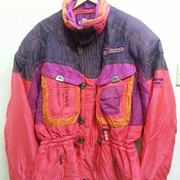 Sale Vintage 1990s Ellesse By Goldwin Ski Wear Colourfull Neon Hip Hop Bomber Winter Jacket