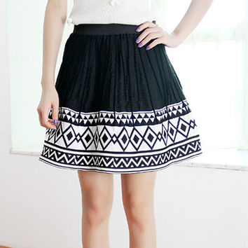 Pleated Skirt Diamond Geometric Skirts