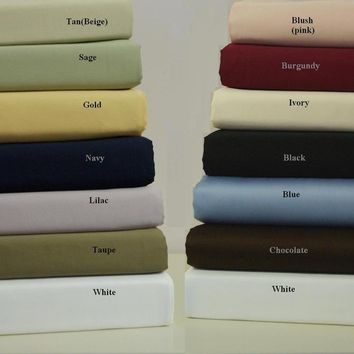 CalKing CHOCOLATE Waterbed Unattached 600 Thread count Solid Sheet Set