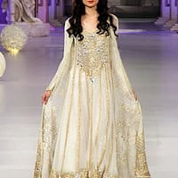 Floor Length Anarkali in Off White By Tabassum Mughal, PCBW 2013