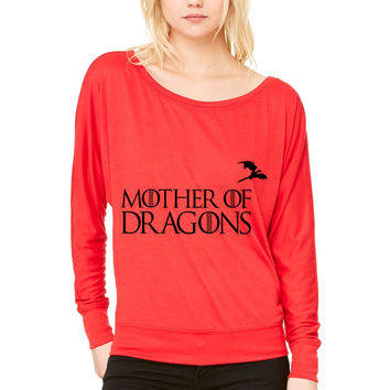 Game of Thrones - Mother of Dragons WOMEN'S FLOWY LONG SLEEVE OFF SHOULDER TEE