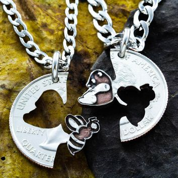Bee and Panda Bear Best Friends Necklaces, Bumble Bee Hand Cut Coin