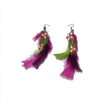 Magenta, Purple, Lime Green Feather and White and Pink Flower Charm Earrings