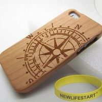 The ancient Compass Natural Handmade Wooden wood Bamboo Hard Case Cover for iphone 5+Free rubber bracelet