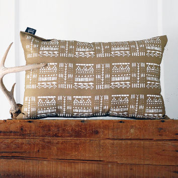 Giza Pillow  -  Hand Printed Pillow- Modern Native Tribal Print - 13x19 - by Bark Decor