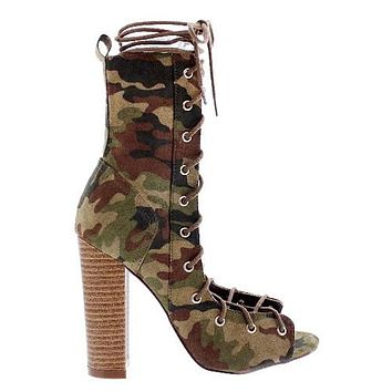 Camo Lace Up Bootie