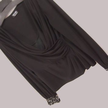 Rich Black Long Sleeve Evening Top Blouse With Faux Onyx Stones Bugle Beads And Sequins