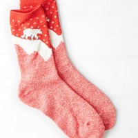 AEO Women's Polar Bear Crew Sock (Red)