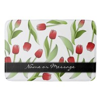 Red Tulip Love Floral Patten Elegant Modern Custom Bathroom Mat