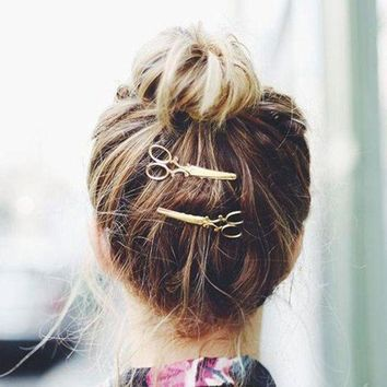 PEAPGC3 1PC Fashion lovely Women Girls Scissors Shape Gold Plated Hair Clip Barrettes Christmas Party Hairpin Hair Accessories 2016 Hot