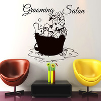 Dog Wall Decals Grooming Salon Decal Vinyl Sticker Pet Shop Window Decor LM151