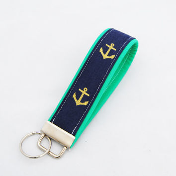 ANCHOR KEY CHAIN, Metallic gold anchors, blue and green keychain, anchors key fob,  kelly green and gold anchors wrist key strap