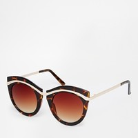 ASOS Metal Round Sunglasses With Built Up Highbrow