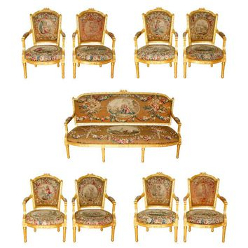 Nine-Piece Louis XVI Style Giltwood and Tapestry Suite