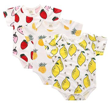 3 pcs / LOT New Baby Boy Clothes Toddlers Cartoon short sleeve pineapple cotton Children rompers Baby Pajamas Jumpsuits SR094