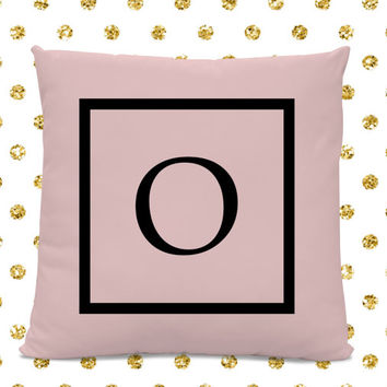 Initial Pillow - Letter Pillow - Pillow with Letter O - Monogrammed Pillow - Custom Throw Pillow - Pink Letter Pillow