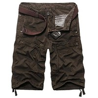 jeansian Men's Summer Causal Multi-pocket Cargo Shorts Pants S357