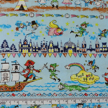 "Cotton fabric - Peter pan - 1 yard - fairy tale - pure cotton, fairy tale, Check out with code ""sale15"" to save 15% off"
