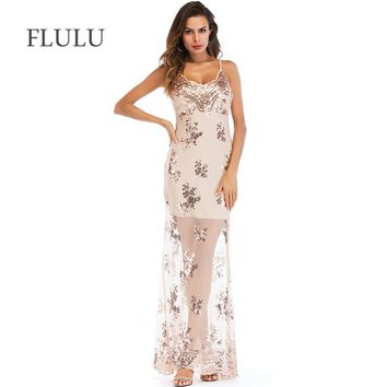 FLULU Summer Dress Women 2018 Sexy V Neck Sequined Mesh Long Dress Elegant Female Streetwear Christmas Party Dresses Vestidos