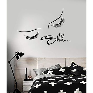 Vinyl Wall Decal Girl Eyebrows And Eyelashes Dream Shh Bedroom Decor Stickers Unique Gift (2044ig)