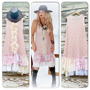 Ruffle lace midi dress, sexy boho pink spring dress, true rebel clothing