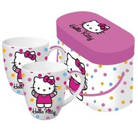 Paperproducts Design 601173 Gift Box Porcelain Mugs, 14-Ounce, Hello Kitty Polka Dot Kitty, Set of 2