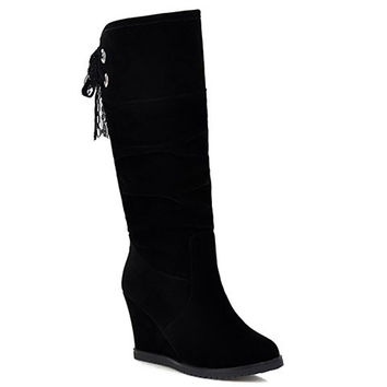 Black Mid-Calf Suede Boots With Lace-Up Design