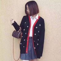 GUCCI Women Little Bee Fashion Knit Button Cardigan Jacket Coat Knitwear