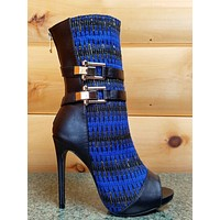 Avery Blue Fabric Gold Weave Open Toe Stiletto Mid Calf Boot 5.5-10 Avery