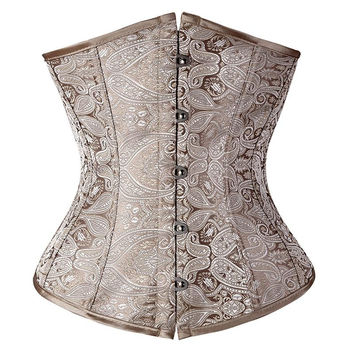 Floral Pattern Underbust Vintage Waist Trainer Corset Top GOTH Bustiers Boned Lace Up PLUS SIZE S-2XL Read Our Size Chart TFS