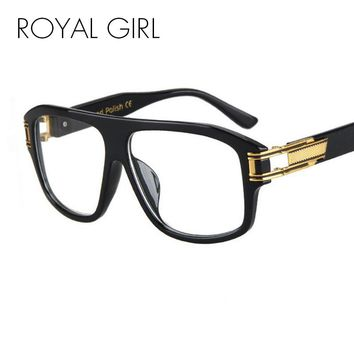 ROYAL GIRL  Fashion Sunglasses Women Flat Top Style Brand Design Vintage Sun glasses Female Rivet Shades Big Frame Shades ss830
