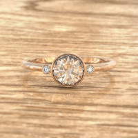 Certified Round Peach Champagne Sapphire and White Sapphire Engagement Ring in 14k Rose Gold - SKU Toma-1199p