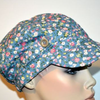 Hat Cadet Miliarty Style One Size Fits Most Floral