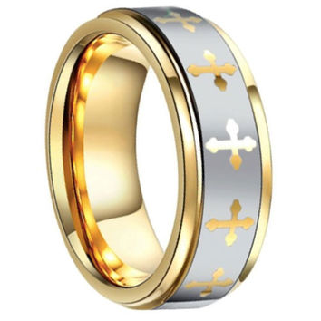 8mm Celtic Cross Wedding Ring Crafted Out Of Tungsten & Gold