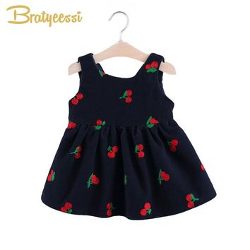 Cute Cherry Baby Girls Dresses with Bow Cotton A Line Sleeveless Infant Dress Baby Girl Clothes