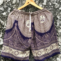Paisley Boho Style Hippie Shorts Aztec Vegan Festival Indian Hipster Beach Clothing Summer Fashion Gift for Men Women Burning man blue