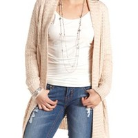Waffle Knit Open Cardigan Sweater by Charlotte Russe - Taupe Combo