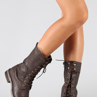 Round Toe Lace Up Mid Calf Combat Boot
