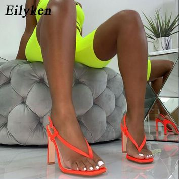 Eilyken Summer Sexy Orange High Heel Sandals Women Fashion Back Strap Flip Flops Square Heel 12CM Gladiator Sandals Shoes