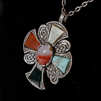 Celtic Style Pendant,Vintage Miracle Britain Cross Necklace,Multi Color Faux Agate Stone Boho Pendant,Medieval or Gothic Cross Necklace