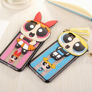 2016 New Arrivla 3D Cute Cartoon Powerpuff Girls Soft TPU Phone Case For iPhone 6 6S 6Plus 5.5 Inch Capa Fundas