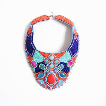 Christmas in July Asian turqoise statement necklace large seed bead embroidery collar blue orange big embroidered summer necklace jewelry