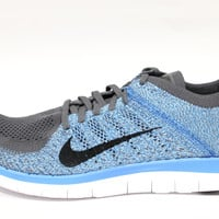 Nike Men's Free 4.0 Flyknit Dark Grey/Blue Running Shoes 631053 014